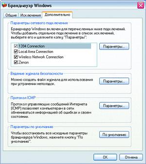 Дополнительно Брандмауэр Windows XP.